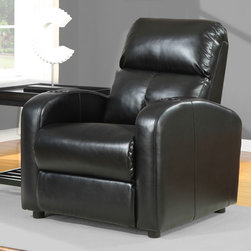 None - Tracy Black Bonded Leather Recliner - Sit comfortably in style with this multi-channeled high-backed black leather recliner. The recliner is quality constructed from 100 percent bonded leather, has a hardwood frame and features drink holders on each arm making it great for theater seating.