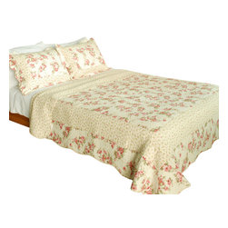 Blancho Bedding - [Floral Music]100% Cotton 3PC Vermicelli-Quilted Patchwork Quilt Set Full/Queen - The [Floral Music] Quilt Set (Full/Queen Size) includes a quilt and two quilted shams. Shell and fill are 100% cotton. For convenience, all bedding components are machine washable on cold in the gentle cycle and can be dried on low heat and will last you years. Intricate vermicelli quilting provides a rich surface texture. This vermicelli-quilted quilt set will refresh your bedroom decor instantly, create a cozy and inviting atmosphere and is sure to transform the look of your bedroom or guest room. Dimensions: Full/Queen quilt: 90 inches x 98 inches; Standard sham: 20 inches x 26 inches.