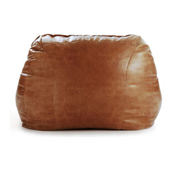 Lounge Chair and Ottoman Rust Leather - Slow the pace and scout out your own private spot for laziness in the privacy of the backyard. Make the settee your outdoor headquarter for a day of reading and sneaking in a nap. Lounging on the couch has been taken to a whole new level. This versatile accent chair has many forms of use. The leather bean bag chair is extremely lightweight and can be easily transported from room to room. This leather beanbag chair also has a child-safe locking double zipper on the bottom.