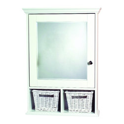 Zenith - Zenith TH22WW White Decorative Medicine Cabinet with Baskets - Zenith TH22WW White Decorative Medicine Cabinet with BasketsThis elegant furniture style cabinet has an intricate crown detail top and bottom, beveled mirrors and its adjustable shelves allow you to customize to your storage needs. Also includes two wicker baskets for increased storage.Zenith TH22WW White Decorative Medicine Cabinet with Baskets, Features:&#149 23 in. W x 31 in. H cabinet provides generous storage space for your bathroom needs
