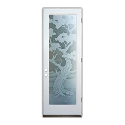 Sans Soucie Art Glass (door frame material Plastpro) - Glass Front Entry Door Sans Soucie Art Glass Bonsai 2D Private - Sans Soucie Art Glass Front Door with Sandblast Etched Glass Design. Get the privacy you need without blocking light, thru beautiful works of etched glass art by Sans Soucie!  This glass provides 100% obscurity. (Photo is view from outside the home or building.)  Door material will be unfinished, ready for paint or stain.  Bronze Sill, Sweep and Hinges. Available in other finishes, sizes, swing directions and door materials.  Tempered Safety Glass.  Cleaning is the same as regular clear glass. Use glass cleaner and a soft cloth.