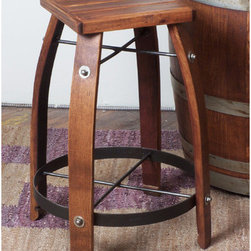 """2 Day - 24-32"""" Stave Stool with Wood Top - Features: -Stave stool with wood top. -Pine finish. -Available in different sizes. -Wine barrel oak, MDF and steel construction. -Made from recently retired oak wine barrel staves. -Durable wrought iron supports.  Specifications: -Made in USA. -24"""" Stave stool Overall dimensions: 24"""" H x 20"""" W x 20"""" D. -28"""" Stave stool Overall dimensions: 28"""" H x 20"""" W x 20"""" D. -30"""" Stave stool Overall dimensions: 30"""" H x 20"""" W x 20"""" D. -32"""" Stave stool Overall dimensions: 32"""" H x 20"""" W x 20"""" D."""
