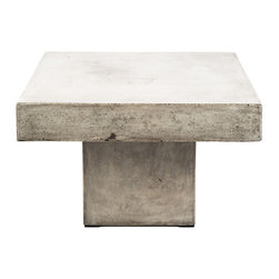 Repose Home - Campos Coffee Table - Stone and natural fibers cements make this coffee table simple and practical. Maintain table's honed beauty and natural intonations with any protective wax or stone floor polish. Handmade in an eco-friendly Zero emission facility. Indoor and protected outdoor use.