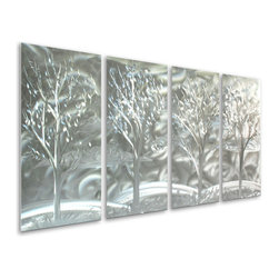 Pure Art - Deep within Woods Hand-Painted Metal Wall Hanging Set of 4 - Run through the an empty field into the haze ahead as you are taken into the lure of the Deep within Woods Hand-Painted Metal Wall Hanging Set of 4. This amazing set will blend and complement your style of decor no matter your taste and design. Show all your family and friends that you have a decorative flair like no other when your guest area invites everyone to sit and relax with you. Your bedroom will have an atmosphere of a secluded hideaway nestled deeply away from the confusion of everyday life. Make a memorable impression on all your visitors to come. Welcome them with pride and admiration of your timeless metal wall art selection.Made with top grade aluminum material and handcrafted with the use of special colors, it is a very appealing piece that sticks out with its genuine glow. Easy to hang and clean.