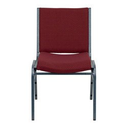 Flash Furniture - Flash Furniture Hercules Series Upholstered Stack Chair in Burgundy - Flash Furniture - Stacking Chairs - XU60153BYGG - This functional stack chair can be used in a multitude of environments from small to large. The versatility of the chair makes it appropriate to use in the Church Offices and Training Rooms or in the Classroom or Home. The thick padded seat and back will keep users comfortable throughout the duration of the day. Not only is this chair comfortable but it is very durable with its heavy duty frame with bumper guards that will prevent the finish on the frame from being scratched when stacked. So when in need of temporary or permanent seating this multi-purpose stack chair is sure to meet the needs for any venue. [XU-60153-BY-GG]