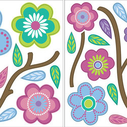 """WallPops - Cutsie Blooms Wall Decal - Cutsie blooms add adorable bursts of color to walls. The sweet stickers in this wall decal kit feature flowers, stems, and leaves in darling hues of pink, periwinkle, and purple. This peel & stick WallPops pack contains four 13"""" by 13"""" sheets totaling over 20 pieces."""