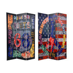 Oriental Furniture - 6 ft. Tall Double Sided Americana Room Divider - Retro art collage of 1960s Americana highway and travel icons. On the front, a peace sign composed of vintage license plates over a distressed painting of an American flag. On the back, a collage image of the road sign for Route 66 and vintage license plates over barn siding.
