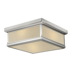 Stone Lighting - Avenue Fablux Ceiling - Avenue Fablux Ceiling features  knoll textile fabric bottom and side window diffusers with Bronze, Polished Nickel, or Satin Nickel finishes. Available in Incandescent, Compact Fluorescent, and LED options. Incandescent: Two 40 watt, 120 volt A19 type Medium base incandescent bulbs are included. CFL: Two 13 watt, 120 volt T4 type, G24q-1 compact fluorescent bulbs are included.  LED: One 10 watt, 120 volt LED type module is included. ETL listed. 19.5 inch square x 8 inch height.