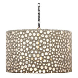 Meri Drum Chandelier - %The Meri Drum Chandelier by Oly Studio presents a pierced resin antique-style lamp with a contemporary edge. The polka dot is reinvented in the fun Meri Drum Chandelier. The assorted sizes of the holes in the Meri Drum Chandelier cast an interesting light throughout a room. The pierced white resin Meri Drum Chandelier is versatile, clean and unique. The Meri Drum Chandelier is handcrafted with natural variations guaranteeing a lamp that is unique for you.