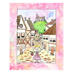 """Oh How Cute Kids by Serena Bowman - Girl in Germany, Ready To Hang Canvas Kid's Wall Decor, 24 X 30 - """"Guten Tag!""""  I love to travel. LOVE LOVE LOVE to TRAVEL. I love everything about it - new food, new streets, new people - I think it is best to way to experience life. This is part of my Travel Girl series that started out as a shout out to all the places I have been!   I hope you enjoy my art as much as I enjoyed making it."""