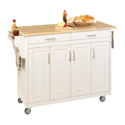 Home Styles - Home Styles Create-a-Cart 49 Inch Wood Top Kitchen Cart in White - Home Styles - Kitchen Carts - 92001021 - Home Styles Create-a-Cart Kitchen Cart in a White finish with a wood top features solid wood construction, four cabinet doors that open to storage with three adjustable shelves inside, handy spice rack with towel bar, paper towel holder, and heavy duty locking rubber casters for easy mobility and safety.