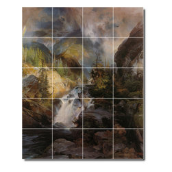 Picture-Tiles, LLC - Children Of The Mountain Tile Mural By Thomas Moran - * MURAL SIZE: 21.25x17 inch tile mural using (20) 4.25x4.25 ceramic tiles-satin finish.