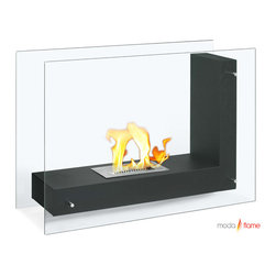 Moda Flame Moda Flame Arta Contemporary Indoor Outdoor L Shaped Ethanol Fireplace In Black