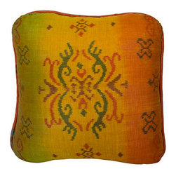 Brilliant Imports - Sunset Ikat Throw  Pillow - After finding this vibrant ikat fabric at market, I met with my seamstress who works across the street from my friend Suparta, in Ubud.  We analyzed the pattern to create the perfectly shaped pillow dimensions that highlight the beauty of the fabric design.  Each pillow was then handmade to these specifications. 100% cotton ikat...each pillow is unique with its own characteristics-- and charming blemishes--within the hand-woven pattern.  With rounded corners.  Includes insert.