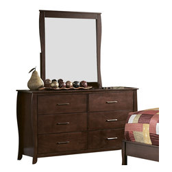 Homelegance - Homelegance Rivera Dresser with Mirror in Brown Cherry - Elegant in design, the Rivera collection draws your attention with the subtle hourglass shape. Both veneered bed and upholstered bed with dark brown vinyl insert are available. The warm brown cherry finish on select hardwoods and veneers accented with satin nickel hardware brings this offering as the best soft contemporary has to offer.