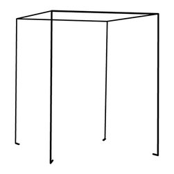 """Antique Drapery Rod - Iron Four Poster Freestanding Bed Canopy, Black, California King - Made of hollow iron rod, hand made in the U.S.A.  This freestanding bed canopy fits over most bed frames and is easy to assemble.  Zip ties included to attach bed leg to canopy leg (cover with fabric).  Suggested fabric: 7' 6"""" tall drapery panels with rings or tab top, add length for full, folded hem (over scaled to include bedding, duvet, headboard, etc).  Includes:*4 tri-corners*4 straight rods*4 leg rods*zip ties which must be attached to bed frame legs for stability."""