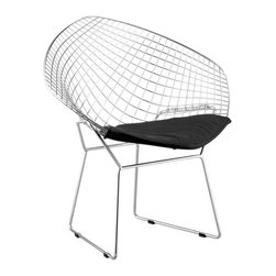 Zuo Modern - Bertoia Net Chair w Solid Steel Frame - Set o - This Solid Steel Wire Chair certainly provides unique charm to your setting.  Many positive attributes include leatherette, solid steel frame, upholstered design, and ultra-easy assembly��_tools are provided.  Set of 2 chairs, all in a striking black finish. * Leatherette, Solid Steel. Upholstered. Without Arms. Easy Assembly-Tools Provided. Color/Finish: Black. 32.5 in. W x 27 in. D x 33 in. HZuo Modern Net Chair Black