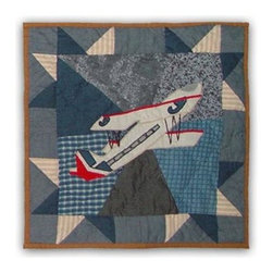 Patch Magic - Airplane Toss Pillow - 16 in. W x 16 in. L. 100% Cotton. Machine washable.. Line or flat dry onlyDecorative applique Quilted Pillow.