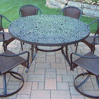 Oakland Living - 7-Pc Traditional Dining Set - Includes one table, two resin wicker swivel chairs, four stackable chairs and metal hardware. Handcast. Traditional lattice pattern and scroll work. Fade, chip and crack resistant. Umbrella hole table top. Hardened powder coat. Warranty: One year limited. Made from rust free cast aluminum, steel and resin wicker. Black color. Minimal assembly required. Chair: 23.25 in. W x 25.5 in. D x 34 in. H (14 lbs.). Swivel chair: 23.25 in. W x 25.5 in. D x 34 in. H (24 lbs.). Table: 60 in. Dia. x 29 in. H (70 lbs.). Overall weight: 180 lbs.This dining set is the prefect piece for any outdoor dinner setting. Just the right size for any backyard or patio. The Oakland Tuscany Collection combines southern style and modern designs giving you a rich addition to any outdoor setting.
