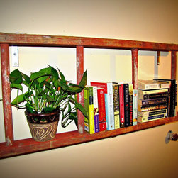 Antique Red Bookshelf Ladder By Naturally Cre8tive - Simply genius! This reclaimed ladder has gotten a valuable second chance at life, coming back as a bookshelf. It is so cute.
