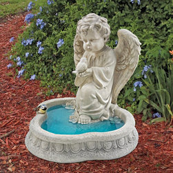 Design Toscano - Design Toscano Angel of Peace Reflecting Pool Sculpture - SH944265 - Shop for Garden Bird Baths from Hayneedle.com! About Design Toscano:Design Toscano is the country's premier source for statues and other historical and antique replicas which are available through the company's catalog and website. Design Toscano's founders Michael and Marilyn Stopka created Design Toscano in 1990. While on a trip to Paris the Stopkas first saw the marvelous carvings of gargoyles and water spouts at the Notre Dame Cathedral. Inspired by the beauty and mystery of these pieces they decided to introduce the world of medieval gargoyles to America in 1993. On a later trip to Albi France the Stopkas had the pleasure of being exposed to the world of Jacquard tapestries that they added quickly to the growing catalog. Since then the company's product line has grown to include Egyptian Medieval and other period pieces that are now among the current favorites of Design Toscano customers along with an extensive collection of garden fountains statuary authentic canvas replicas of oil painting masterpieces and other antique art reproductions. At Design Toscano attention to detail is important. Travel directly to the source for all historical replicas ensures brilliant design.