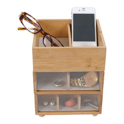 Great Useful Stuff - Bamboo Stackable Tabletop Valet With Phone Cradle - The key to a good day is getting an organized start! With GUS's new Stackable Valet with Phone Cradle, your morning routine will be so effortless that you will have time for an extra cup of coffee!  Our Stackable Valet is a great home for the things you use everyday: keys, money, phone, sunglasses, reading glasses, watches and more! Each of the 3 trays come with customizable dividers that can easily be adjusted to match your needs. With an open top and a slot for cords, the top level works perfectly as a cellphone charging station. The other two trays are perfect catchalls and have acrylic see-thru fronts so you can easily spot what you are looking for. Made of eco-friendly bamboo and lined with recycled cotton, this Stackable Valet makes a great bedside or desktop accessory.