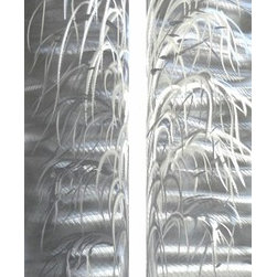 Pure Art - Tree of Good Will Handcrafted Metal Wall Art Sculpture Set of 2 - Showcase your excellent taste by hanging this opulent metal wall art in your home or office!  The Tree of Good Will Handcrafted Metal Wall Art Sculpture Set of 2 features two individual panels that come together to form an abstract tree upon a backdrop of whirling, swirling silver.  This completely monochrome metal wall hanging is vertically styled, making it perfect for hanging on even your narrower walls.  Hand painted and hand crafted metal wall hanging adds a touch of nature-inspired excitement to your space while not being too overwhelming.  Perfect for the den, living room, bedroom, and elsewhere within your modern home where an exciting piece of wall art is desiredMade with top grade aluminum material and handcrafted with the use of special colors, it is a very appealing piece that sticks out with its genuine glow. Easy to hang and clean.