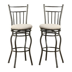 Adarn Inc. - Set of 2 Swivel Barstools Fabric Cushion Metal Frame Bar Pub Stools Dining Chair - This swivel bar stool features a metal frame and smooth cushioned seats with a straight-lined back support perfect for your casual dining set or bar.