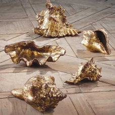 Tropical Accessories And Decor Gold Leafed Shells