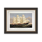 """Frontgate - Clipper Ship Wall Art - A great gift for sailing and history aficionados. Giclee print with deckled edge. Natural mat. Rubbed espresso frame with antique gold trim. Arrives ready to hang. Sailing and history enthusiasts are sure to marvel at our print reproduction print of a 19th century Clipper Ship, """"Three Brothers, The Largest Sailing Ship in the World."""" This recreation of a Currier and Ives hand-tinted lithograph shows the clipper dashing through rough seas, as this multi-masted ship speedily cruises toward its destination.. . . . . Made in the USA."""