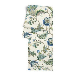 Blue Jacobean Floral Custom Table Runner - Get ready to dine in style with your new Simple Table Runner. With clean rolled edges and hundreds of fabrics to choose from, it's the perfect centerpiece to the well set table. We love it in this sophisticated Jacobean floral in bright classic shades of blue. Perfect for the new traditionalist.