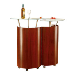 Global Furniture USA - M777-M Glass & Mahogany Bar Unit - The M777-M bar unit features a modern design to become the center or the party. This bar unit is crafted from a mdf construction with a beautiful mahogany finish. Placed on top of the unit are two round glass tops perfect for drink holding. The unit opens and closes to reveal a ample storage area within.
