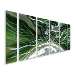 Pure Art - Organic Opulence Six-Piece Handcrafted Aluminum Wall Art - An electric explosion of the mind! Give energy and atmosphere to any modern room of the home with the Organic Opulence Six Piece Handcrafted Aluminum Wall Art Set. This fascinating set of metal wall art pieces have been hand painted using bold colors of black, green and silver to create lines that flow and transform the imagination. This aluminum wall hanging set was hand crafted by skilled craftsman using only the best of materials. A clear coat finish was applied to enhance durability and add protection. Choose this set of magnificent panels to decorate those larger walls in your fine homeMade with top grade aluminum material and handcrafted with the use of special colors, it is a very appealing piece that sticks out with its genuine glow. Easy to hang and clean.