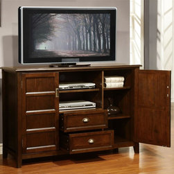 Simpli Home - TV Stand in Espresso Brown Finish - Two drawers with pulls for plenty of storage. Open central area with 1 adjustable shelf and cord management cut outs. Two side cabinets with framed panel doors and 4 adjustable shelves. Made from solid plantation grown pine. Rich espresso stain finish with protective NC lacquer finish. Made in Vietnam. 54 in. W x 17.5 in. D x 36 in. H (84 lbs.)Complete your living room with the traditional  style of the Burlington TV & Media Console. Side cabinets with frame panel  doors include 2 adjustable shelves allowing for plenty of space. The central area offers open shelving and two drawers for all types of media and gaming components.  Also comes with cord management cutouts for easy installation of TV and media components.