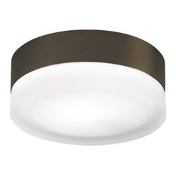 Tech Lighting - 360 Round Ceiling Flush Mount - 360 round ceiling flush mount features a frosted glass shade. Finish available in antique bronze and satin nickel. Available in a round and square shaped option. Also available in a small and large size version. Large version can be wall mounted and is available with incandescent or compact fluorescent lamping option. Small version includes one 40 watt, 120 voolt, JCD Type G9 base halogen lamp. Large version includes two 40 watt, 120 volt, JCD Type G9 base halogen lamps or two 13 watt, 120 volt, T4 2GX7 base twin tube compact flourescent lamps and electronic ballast included. Mounts to a standard 4 inch square junction box with round plaster ring (provided by electrician). General light distribution. EnergyStar rated. ETL listed. Small: 6 inch diameter x 2.3 inch height. Large: 11 inch diameter x 2.5 inch height.