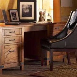 "Bentley Executive Desk - This wood desk puts the ""home"" in ""home office."" It has Arts and Crafts style that fits right into a bungalow or craftsman-style home. It seems like it's been handed down from your dad or grandad's comfortable old office; as if you can still smell the cigar smoke in it from the days when such things were permitted anywhere in the United States indoors. Oh, and P.S., because it is newly constructed, it has modern options like a keyboard tray available."