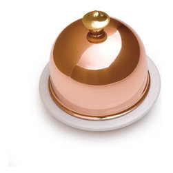 Mauviel Cookware M'Tradition Porcelain Butter Dish with Copper Lid - Keeping butter fresh under the dome of this Mauviel piece is one option, but I might also use it to serve a small round of cheese or a slice of pâté.