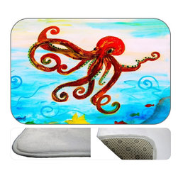 Red Octopus Plush Bath Mat, 30X20 - Bath mats from my original art and designs. Super soft plush fabric with a non skid backing. Eco friendly water base dyes that will not fade or alter the texture of the fabric. Washable 100 % polyester and mold resistant. Great for the bath room or anywhere in the home. At 1/2 inch thick our mats are softer and more plush than the typical comfort mats.Your toes will love you.