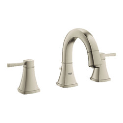 "Grohe - Grohe 20418EN0 Brushed Nickel Grandera Series Two Handle Widespread Lav Faucet - Grohe Grandera three hole bath faucet 20418 EN0. This bath faucet features a 3-hole installation, two lever handles for precise volume and temperature control, Grohe's WaterCare technology for a 1.5 GPM flow rate, a 1/2"" cartridge, pressure resistant flexible connection hoses, and a 1-1/4"" pop-up waste assembly. This model comes in a beautiful, Brushed Nickel finish."