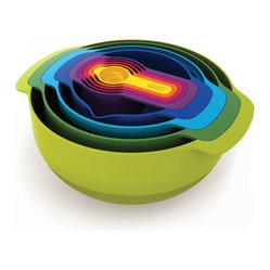 Joseph Joseph - Nest Plus, Multi Colored, 9 Pc. - The Nest collection is the ultimate practical, space-saving kitchenware comprising a unique range of food preparation sets. Their innovative design allows the individual elements within each set to be stacked together, thereby occupying the absolute minimum amount of space. Dishwasher Safe.