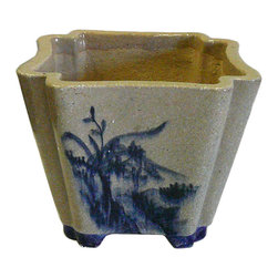 Golden Lotus - Chinese Hand Painted Oriental Scenery Ceramic Planter - This is a decorative piece with off gray white color and blue color oriental scenery on the surface.