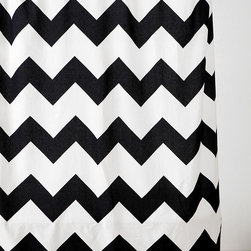 Zigzag Shower Curtain, Black - I'm almost afraid I'd slip in the shower, mesmerized by these zigzags.