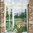 The Tile Mural Store (USA) - Tile Mural - A Room With A View - Kitchen Backsplash Ideas - This beautiful artwork by Jane Maday has been digitally reproduced for tiles and depicts a scene where you are looking out of a window into a beautiful garden with flowers and a butterfly.  This garden tile mural would be perfect as part of your kitchen backsplash tile project or your tub and shower surround bathroom tile project. Garden images on tiles add a unique element to your tiling project and are a great kitchen backsplash idea. Use a garden scene tile mural for a wall tile project in any room in your home where you want to add interesting wall tile.