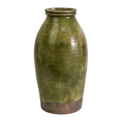 Vintage Tall Jar - Clay vase that has a vintage, worn, traditional look