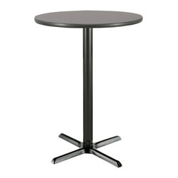 KFI Seating - 42 in. High Round Pedestal Table w X-Base (30 - Finish: 30 in. Dia-Graphite NebulaRound bar height pedestal table. High pressure laminate top with a T-mold edge. The X-base and column are powder-coated black and made of steel. Pictured in 42 in. Dia - Graphite Nebula top finish. Height: 42 in. H