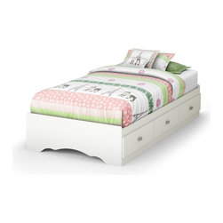South Shore - South Shore Sabrina Twin Mates Bed in Pure White - South Shore - Beds - 3650212 - With its three drawers, the Sabrina Twin mate's bed in Pure White finish is a great space-saving solution. Girls will love its jewel like chrome handles and decorative cut-outs. It can also be attached to the Sabrina Twin 39-inch headboard for even more storage options. It is equipped with polymer glides that include dampers and catches for enhanced safety. Its weight capacity is 250 pounds and no box spring is required. Bed is reversible therefore drawers can be placed on either side of the bed.