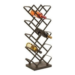 "Benzara - Barware Metal Wine Holder 30""H - Barware Metal Wine Holder 30""H, 12""W"