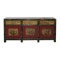 Hand-Painted Mongolian Buffet - Hand-painted Mongolian buffet with three drawers and six doors. Painted peonies on the red doors symbolize wealth and prosperity. New interior shelves and hardware. Circa 1880s.