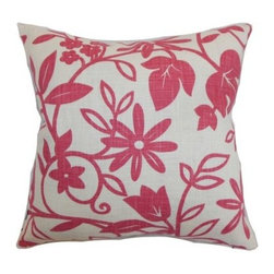 The Pillow Collection Gambela Floral Pillow - Cute and ultra stylish, The Pillow Collection Gambela Floral Pillow makes any room a happier place. Made of 55% linen and 45% rayon, this charming square pillow features a plush 95/5 feather/down insert for the ultimate soft feeling. The contrast of a clean, white background and bright pink floral print make a bold statement and add a welcoming look your home.About The Pillow CollectionIdentical twin brothers Adam and Kyle started The Pillow Collection with a simple objective. They wanted to create an extensive selection of beautiful and affordable throw pillows. Their father is a renowned interior designer and they developed a deep appreciation of style from him. They hand select all fabrics to find the perfect cottons, linens, damasks, and silks in a variety of colors, patterns, and designs. Standard features include hidden full-length zippers and luxurious high polyester fiber or down blended inserts. At The Pillow Collection, they know that a throw pillow makes a room.