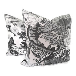 Pop O Color - Pair of Schumacher Chiang Mai Dragon Pillow Covers, Smoke, 18x18 - Add a Pop O Color to your decor with this pair of Chiang Mai Dragon pillow covers. If your room is in need of a statement piece this is it. This gorgeous heavy weight linen fabric has wonderful rich colors: reds, oranges, blues, greens and browns on an mocha brown background. It is one of Schumacher's new fabrics but its style will endure forever. Chiang Mai Dragon was originally derived from an exuberant 1920s Art Deco era block print. The pattern is table printed on a linen ground.